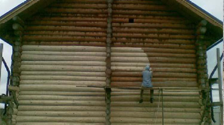Шлифовка и покраска деревянных  домов